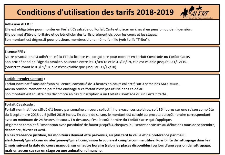 condition d'utilisation ALERT Association de Loisirs Équestres en Région Toulousaine